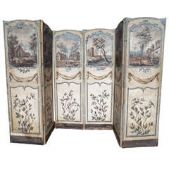 18th Century Painted Canvas French Screen