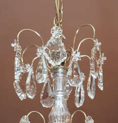 Antique French Crystal And Bronze D Ore 6 Light Chandelier