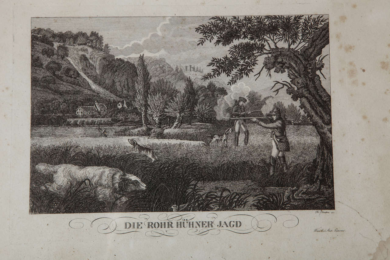 Set Of Three German Hunting Engravings 1800s For Sale At