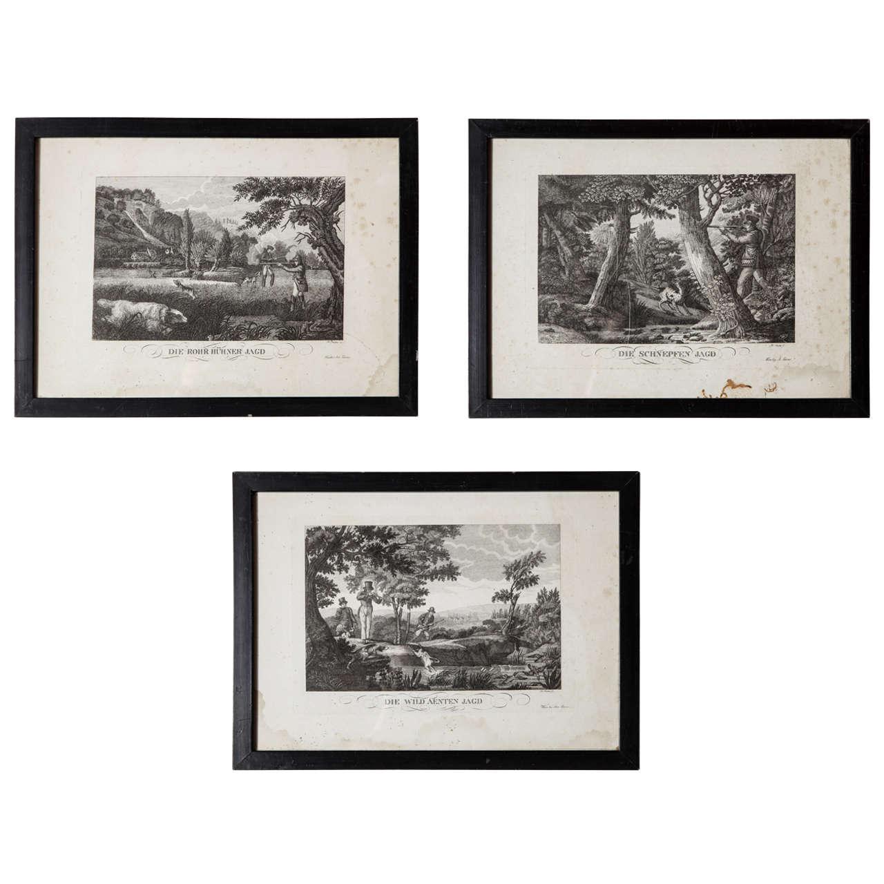 Set of Three German Hunting Engravings, 1800s