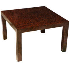 Faux Tortoise Parsons Style Coffee Table in the Style of Billy Baldwin