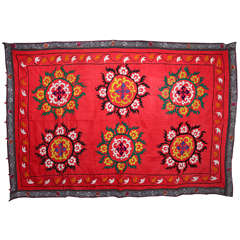 Vintage Red Turkish Suzani Throw