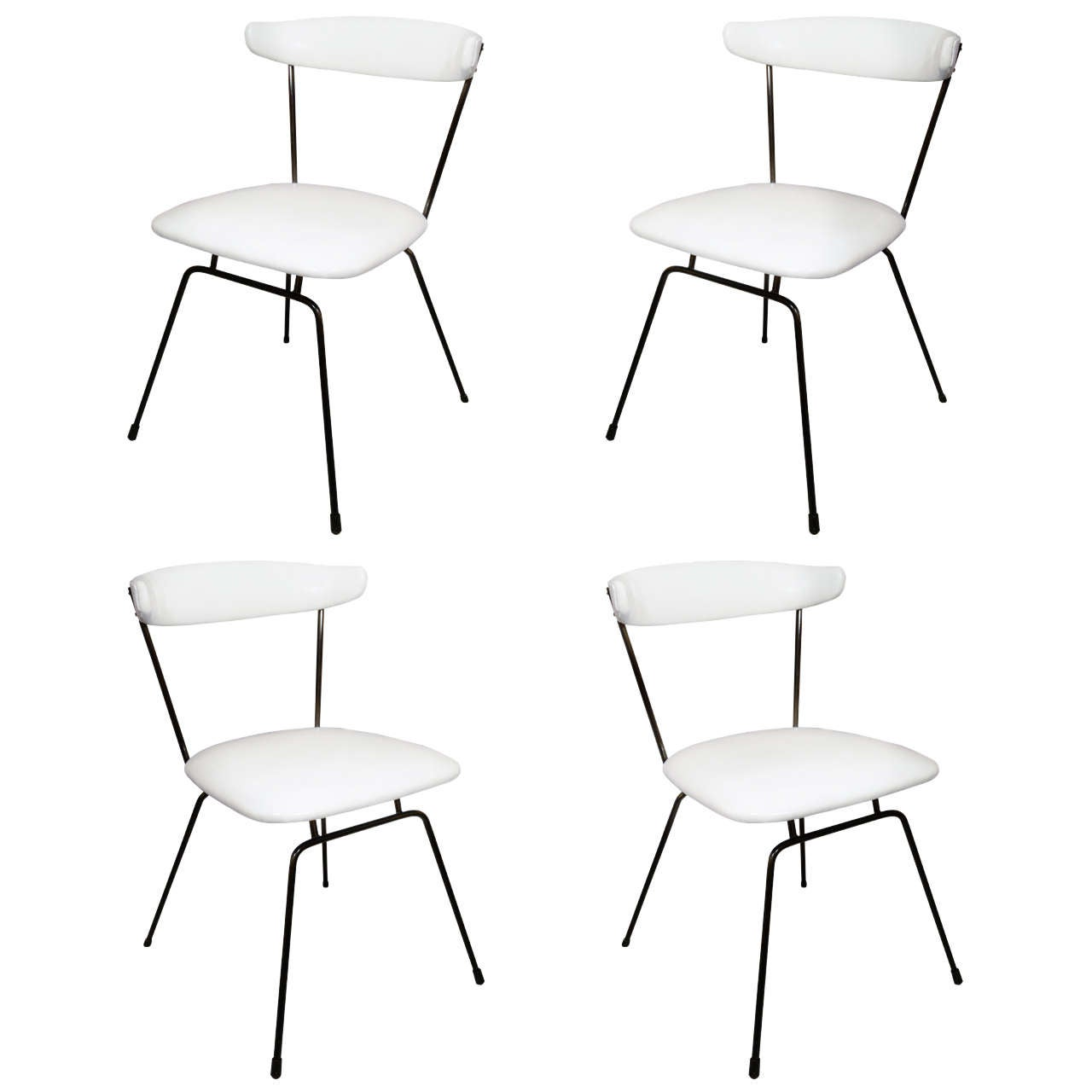 Set of 4 Iron Dining Chairs by Clifford Pascoe in White Leather For Sale