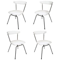 Set of 4 Iron Dining Chairs by Clifford Pascoe in White Leather
