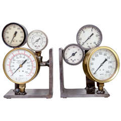 Pair of Vintage Pressure Gauge Bookends