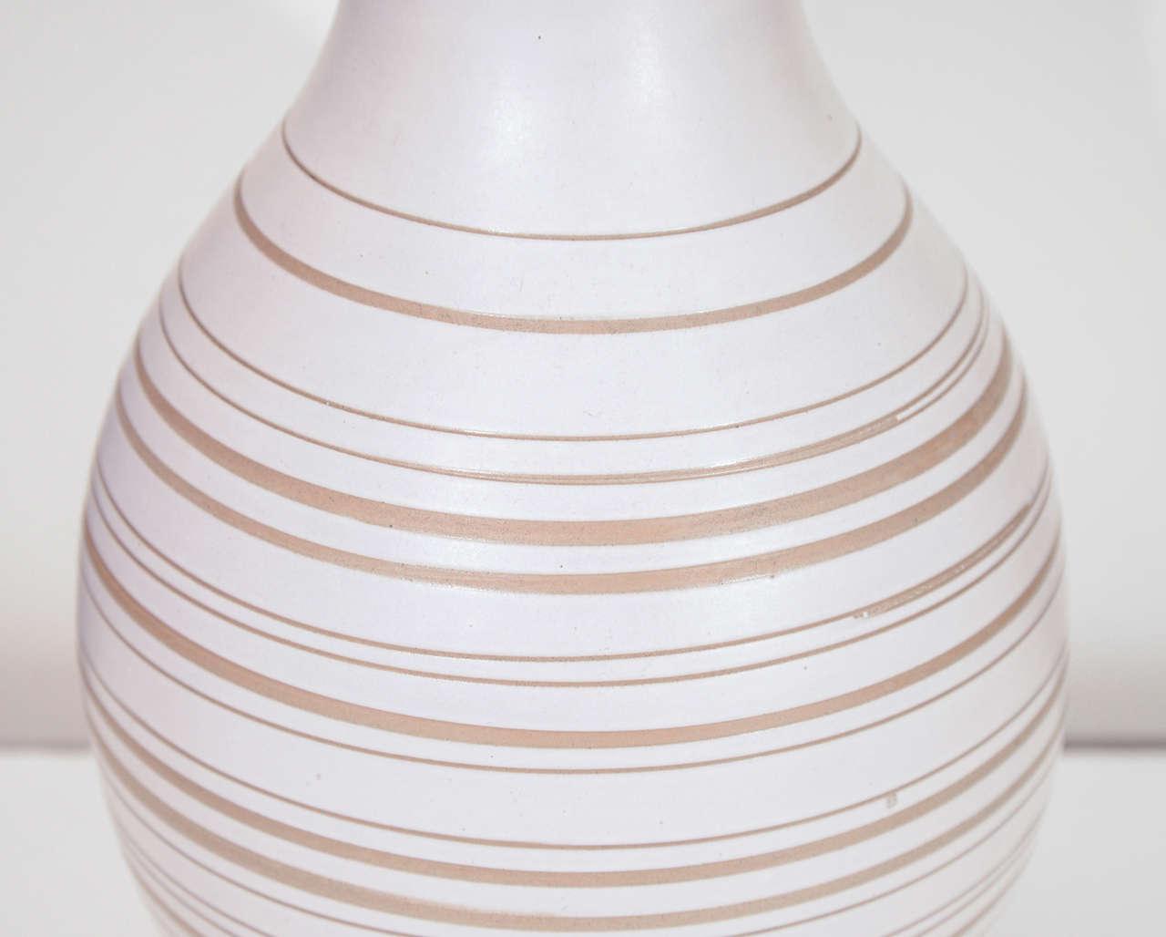 Ceramic Gordon Martz Horizontal Striped Lamp For Sale