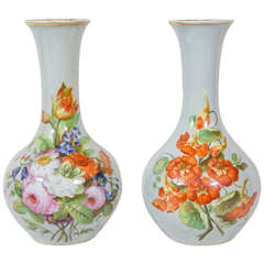 Pair of Opaline Vases Painted Flowers