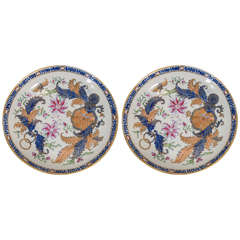 Pair of New Hall Tobacco Leaf Pattern Dishes