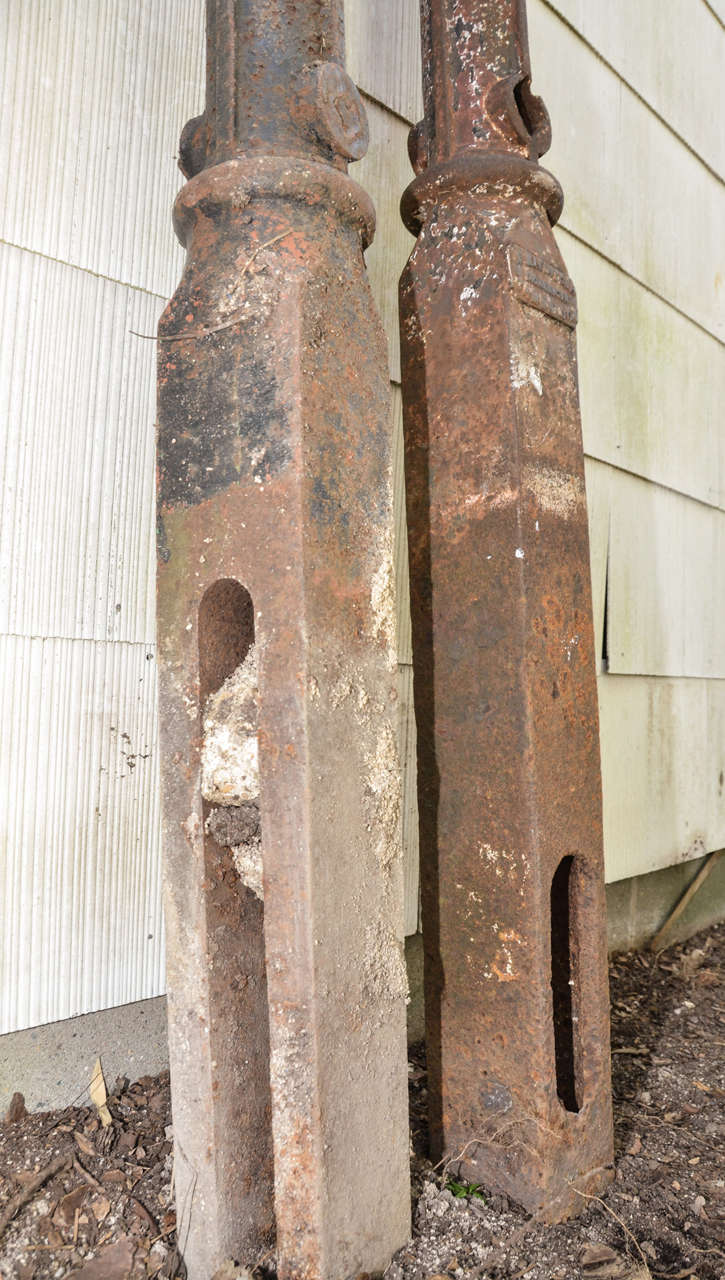 Pair of english victorian cast iron gate posts at stdibs