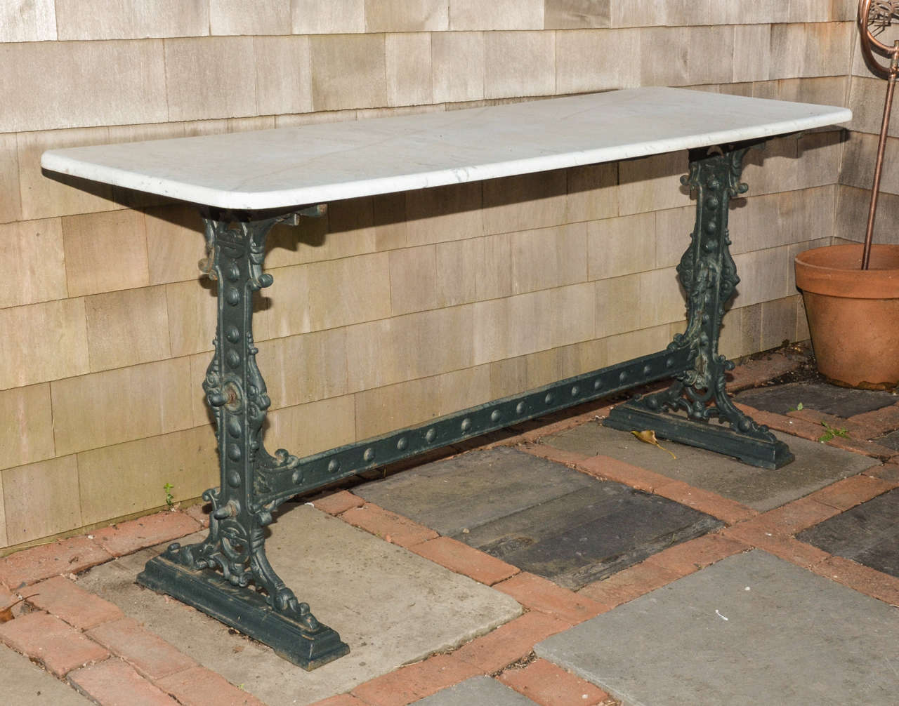 Unusually Long Marble Top Cast Iron English Pub Table 2