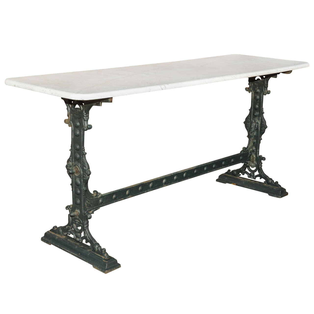 Marble Bistro Accent Table: Unusually Long Marble Top Cast Iron English Pub Table At