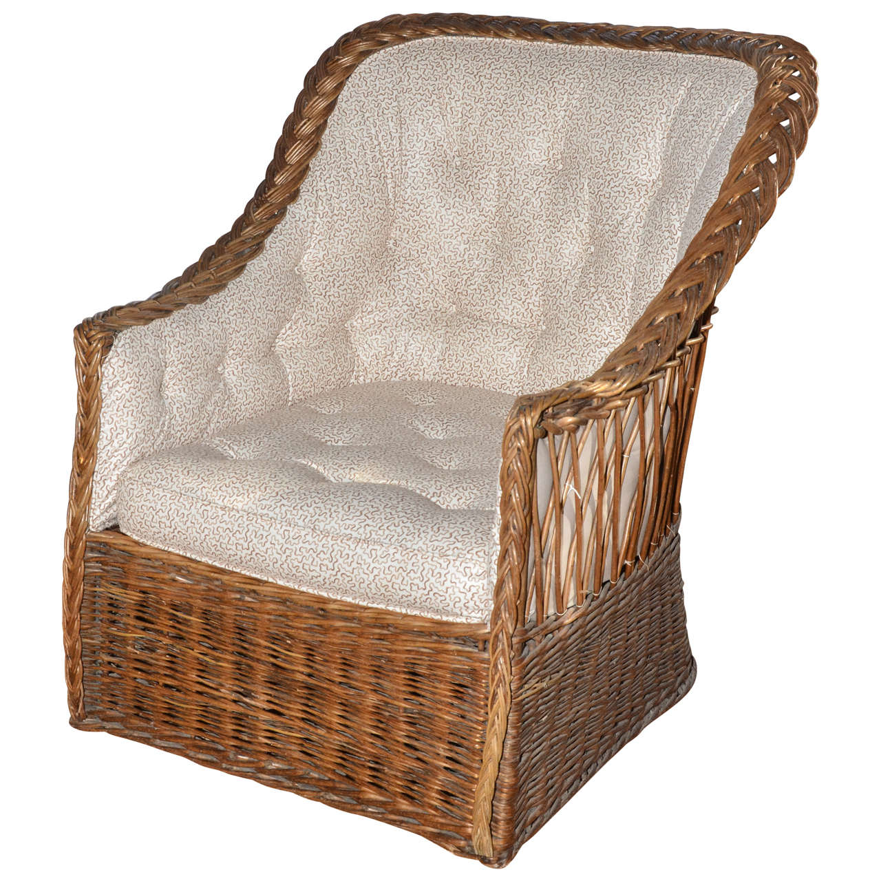 English Natural Wicker Tufted Back Tub Chair At 1stdibs