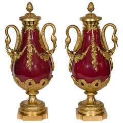 Pair of Antique French Louis XVI Gilt Bronze and Red Sevres Style Porcelain Urns