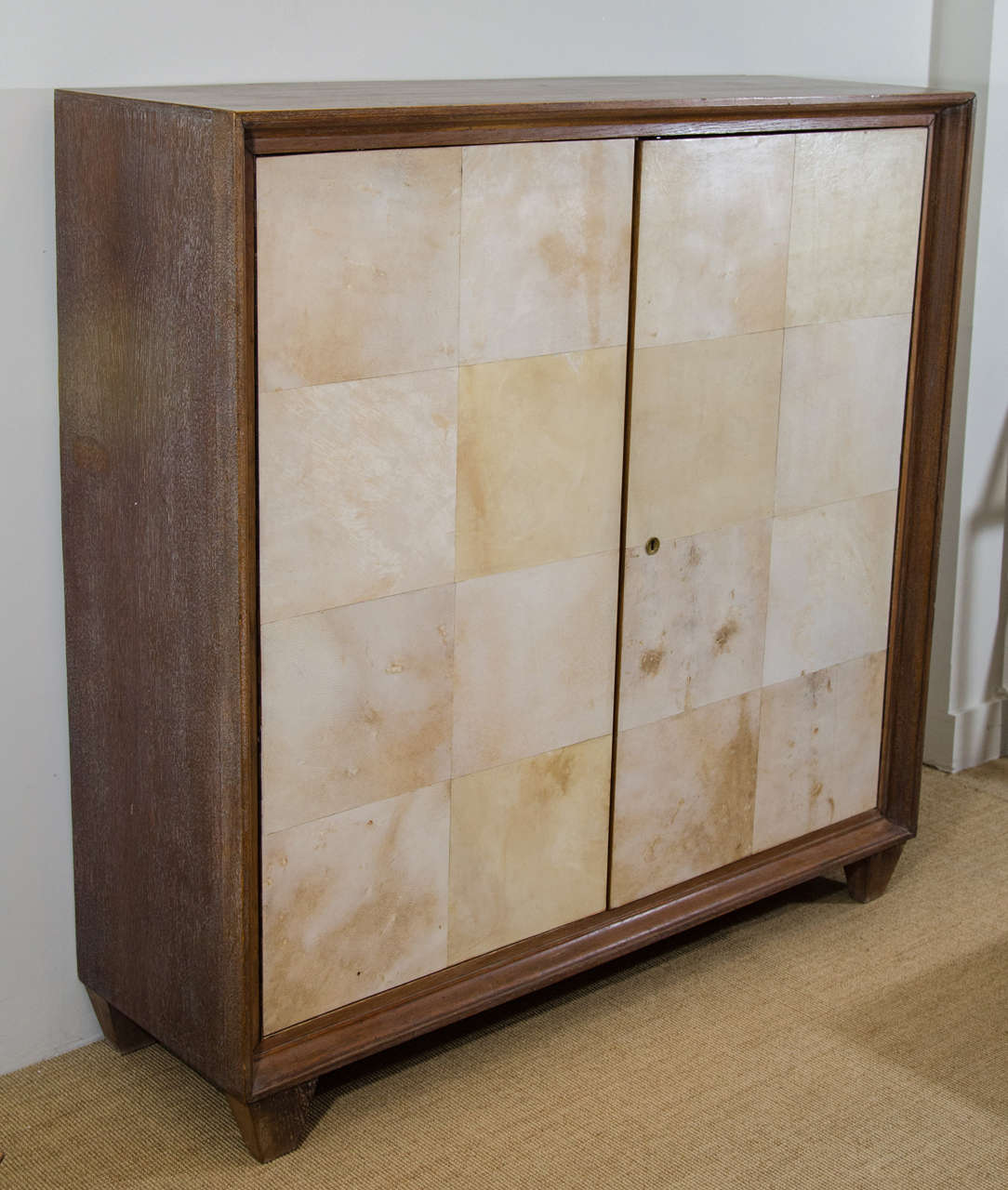 French Parchment and Cerused Oak Cabinet, circa 1940s 2