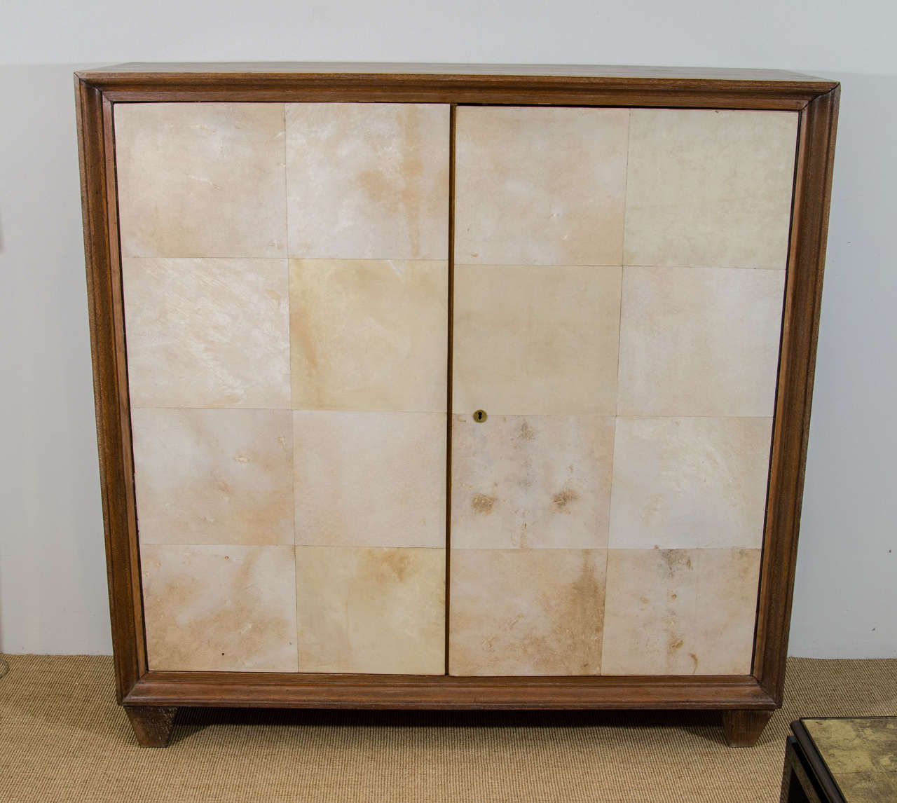 French Parchment and Cerused Oak Cabinet, circa 1940s 3