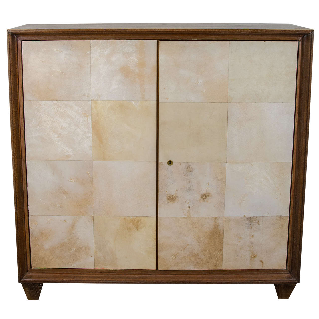 French Parchment and Cerused Oak Cabinet, circa 1940s 1
