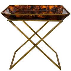"Tortoise Plexiglas Tray Table with a Brass ""X"" Base, Archea-Milano, 1970"