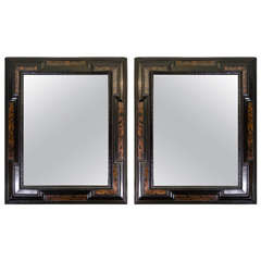 Pair of Baroque Faux Tortoise Mirrors