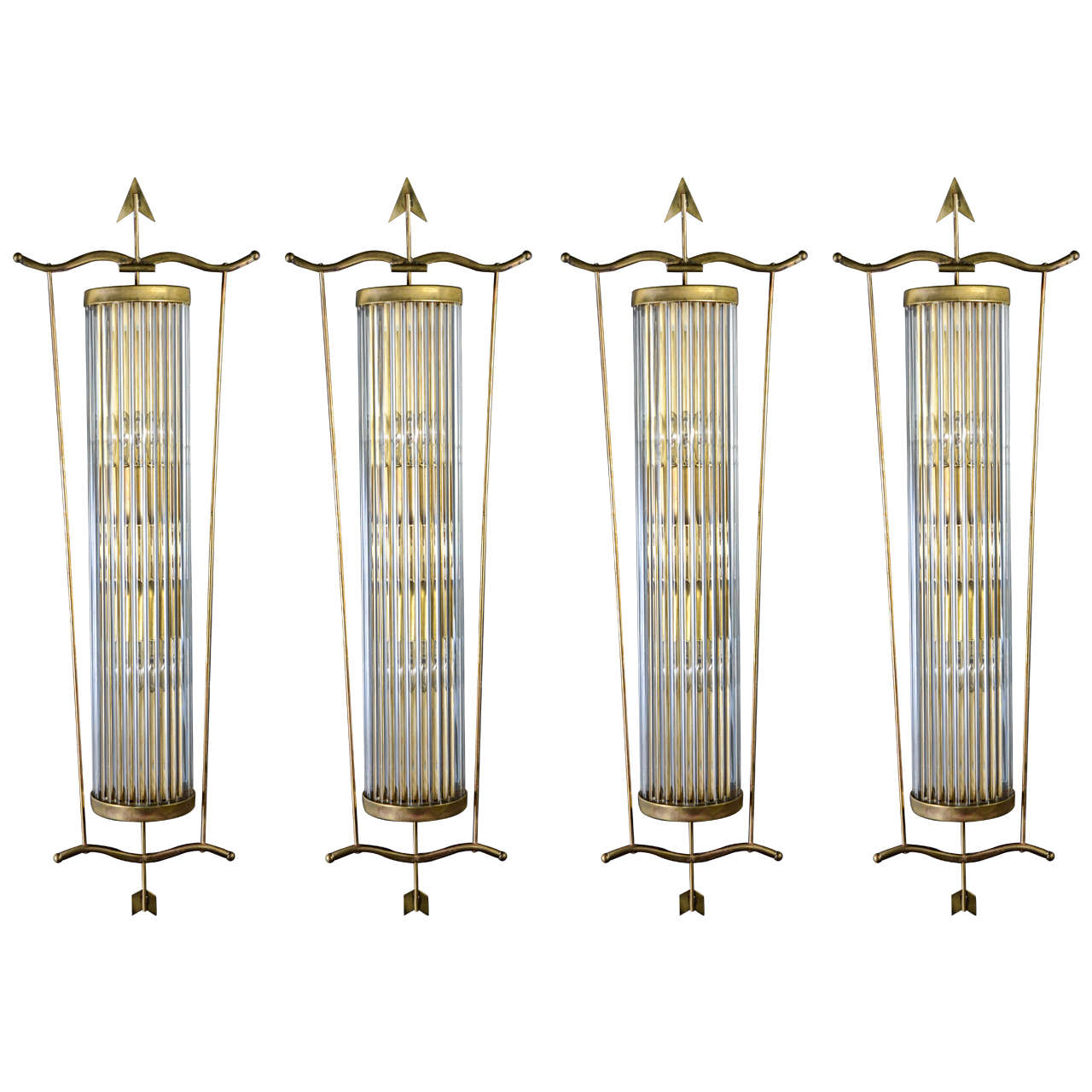 Decorative Set of Four Arrows Brass and Murano Glass Wall Sconces at 1stdibs