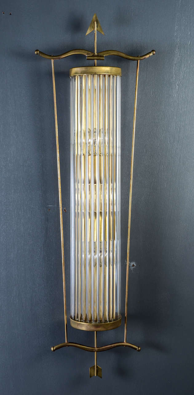 Decorative Glass Wall Sconces : Decorative Set of Four Arrows Brass and Murano Glass Wall Sconces at 1stdibs