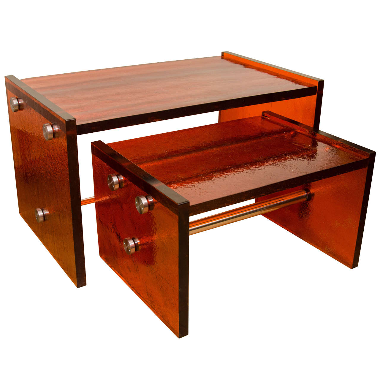 Pair of Rectangular Orange Glass Nesting Tables with Nickel Details