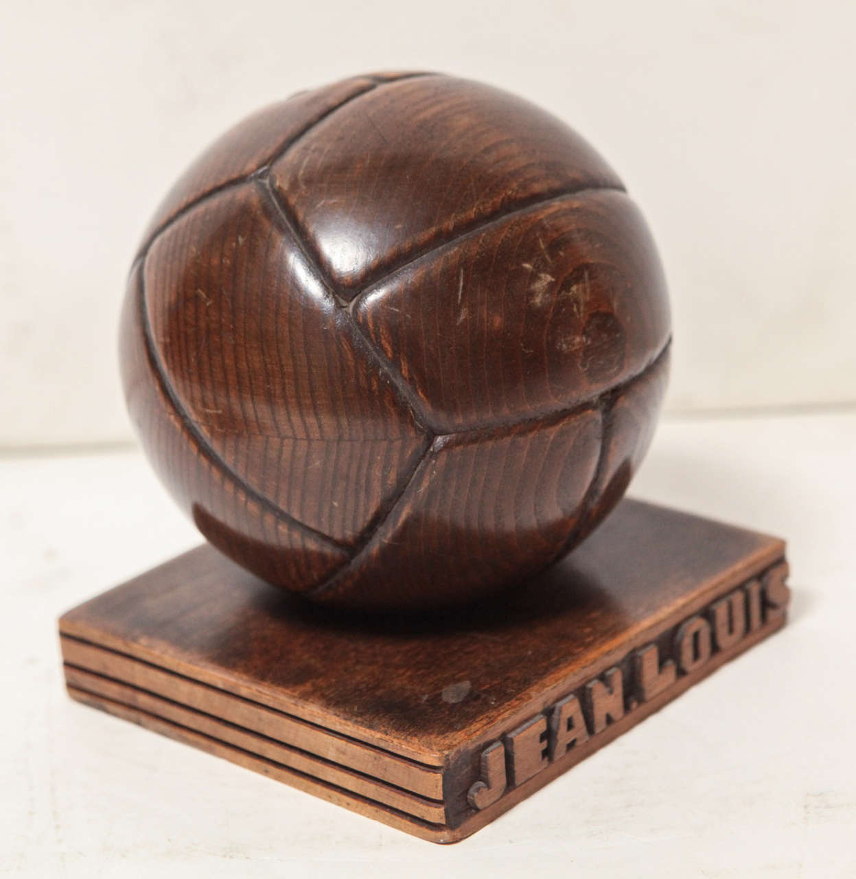 French hand carved wood soccer ball piggy bank for sale at