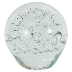 Large Hand-Blown Murano Glass Sphere with Controlled Release Air Bubbles