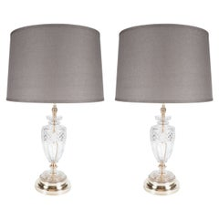 Elegant Pair of Hollywood Crystal Urn Lamps with Brass Fittings