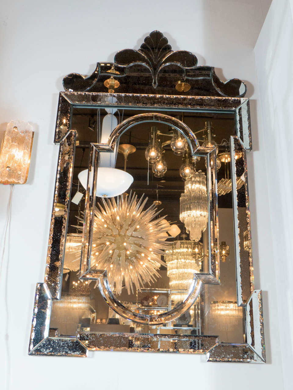 Exquisite Smoked Hollywood Venetian Style Mirror With