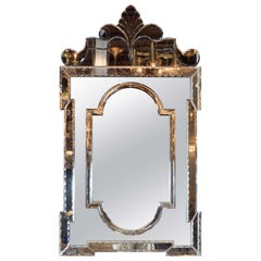 Exquisite Smoked Hollywood Venetian Style Mirror with Chain Bevel Detailing