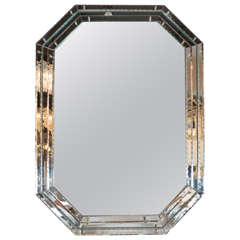 Mid-Century Modernist Octagonal Mirror with Chain Beveled Detailing