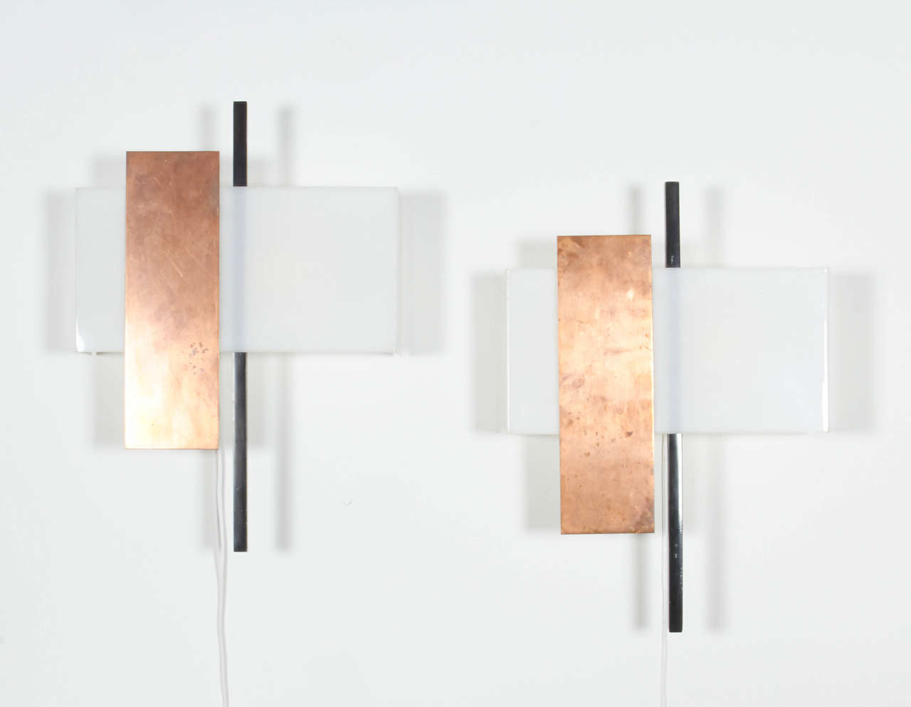 Mid-Century Modern Pair of Copper and Perspex Sconces by BAG Turgi, Switzerland, 1960s For Sale