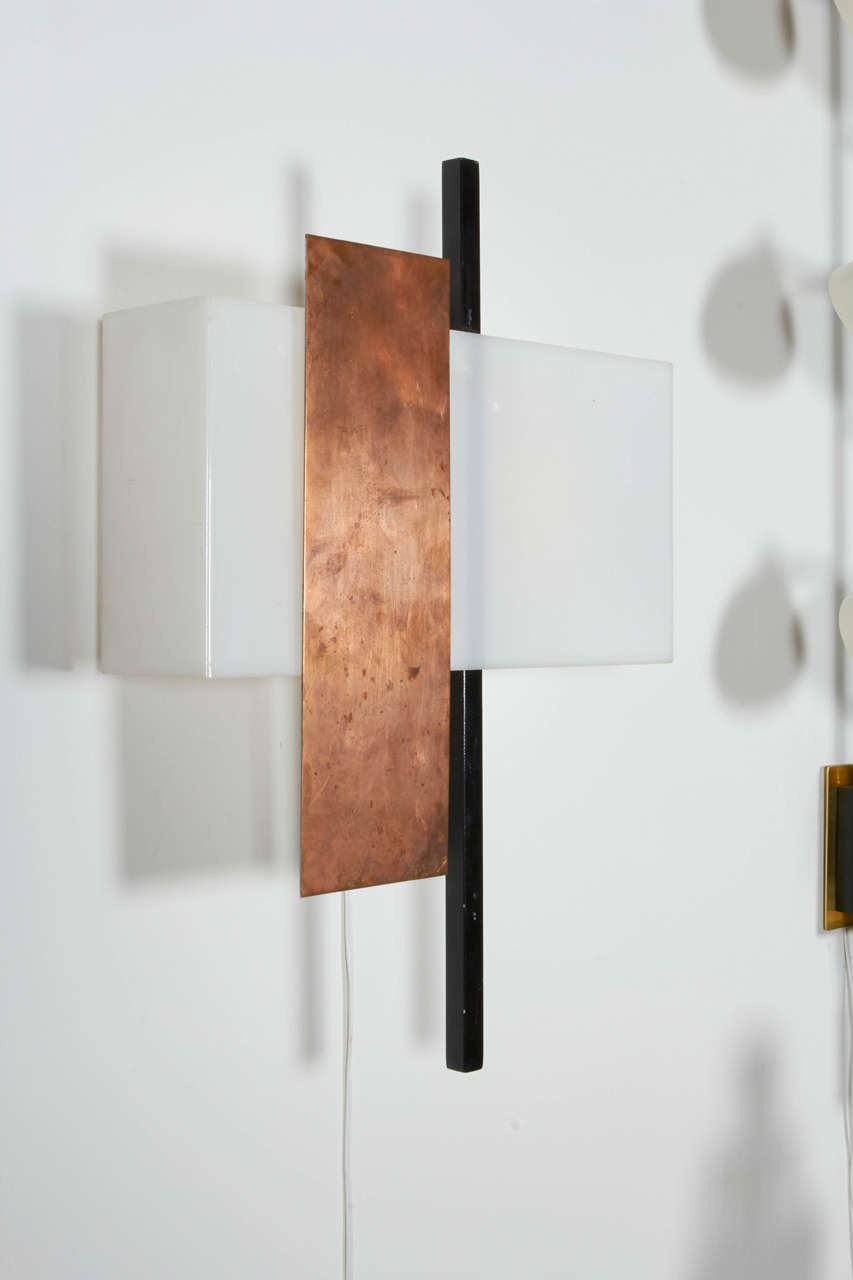 Swiss Pair of Copper and Perspex Sconces by BAG Turgi, Switzerland, 1960s For Sale