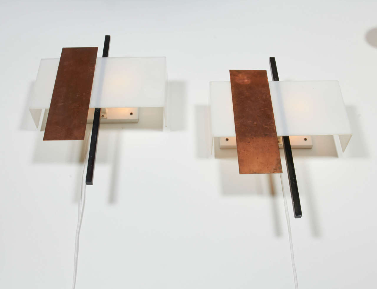 Pair of Copper and Perspex Sconces by BAG Turgi, Switzerland, 1960s In Excellent Condition For Sale In New York, NY