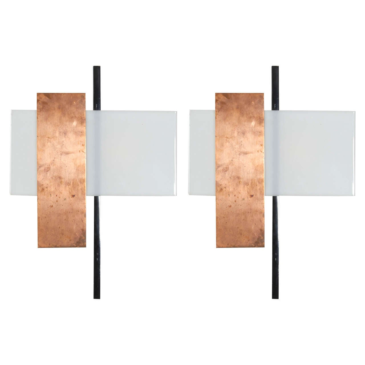 Pair of Copper and Perspex Sconces by BAG Turgi, Switzerland, 1960s For Sale