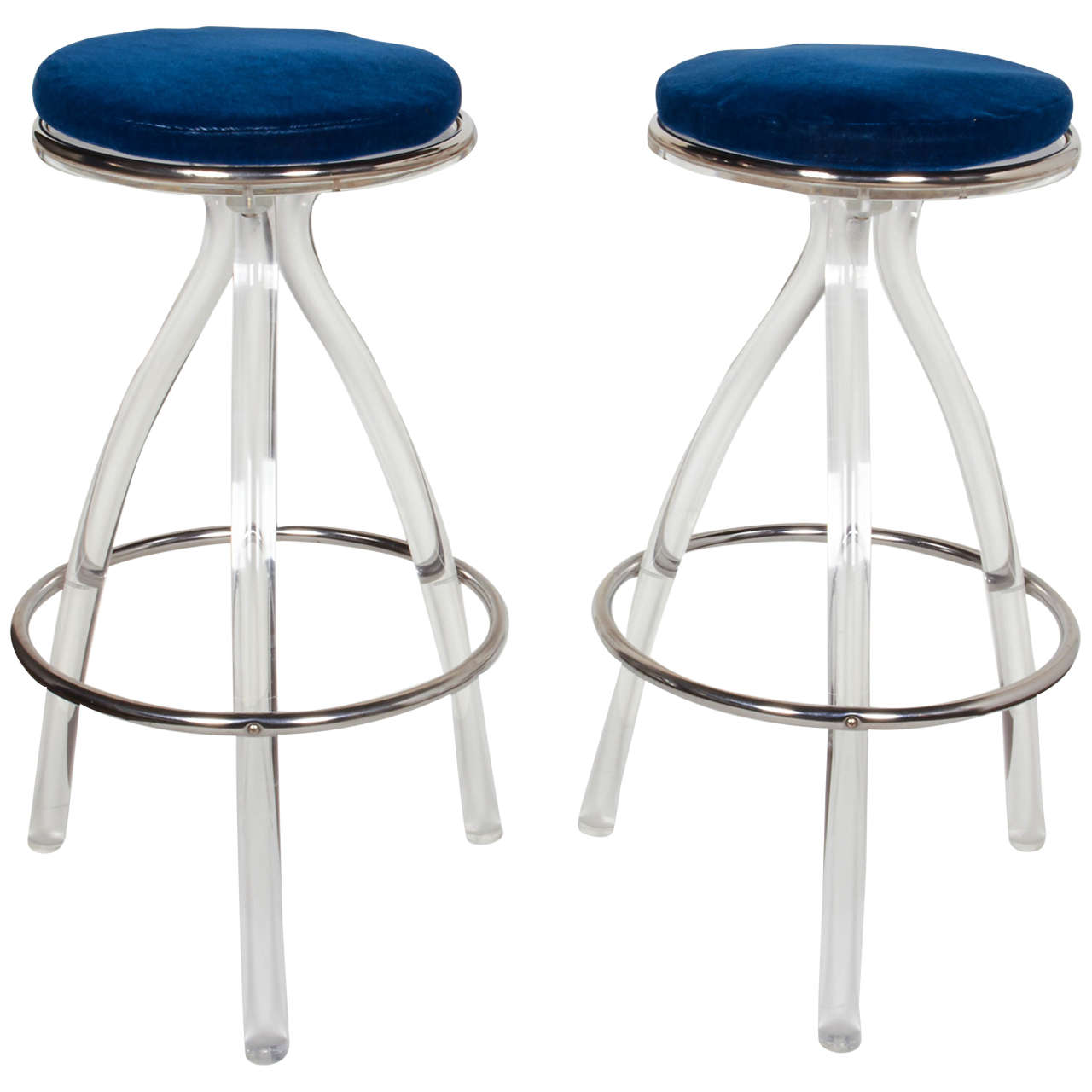 Pair of ultra modernist lucite bar or counter stools for sale