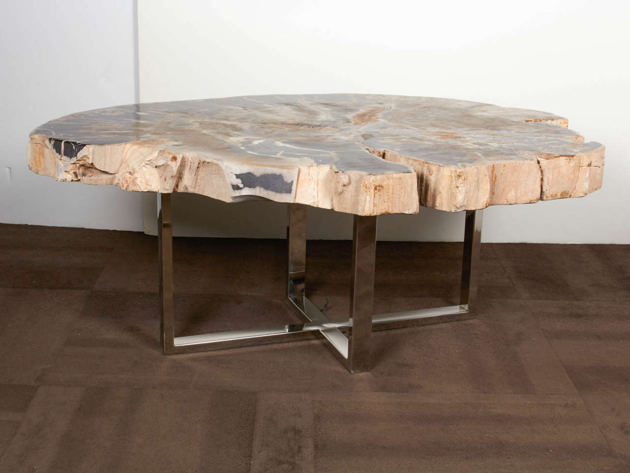 Organic Modern Outstanding Large Petrified Wood Slab Coffee Table For