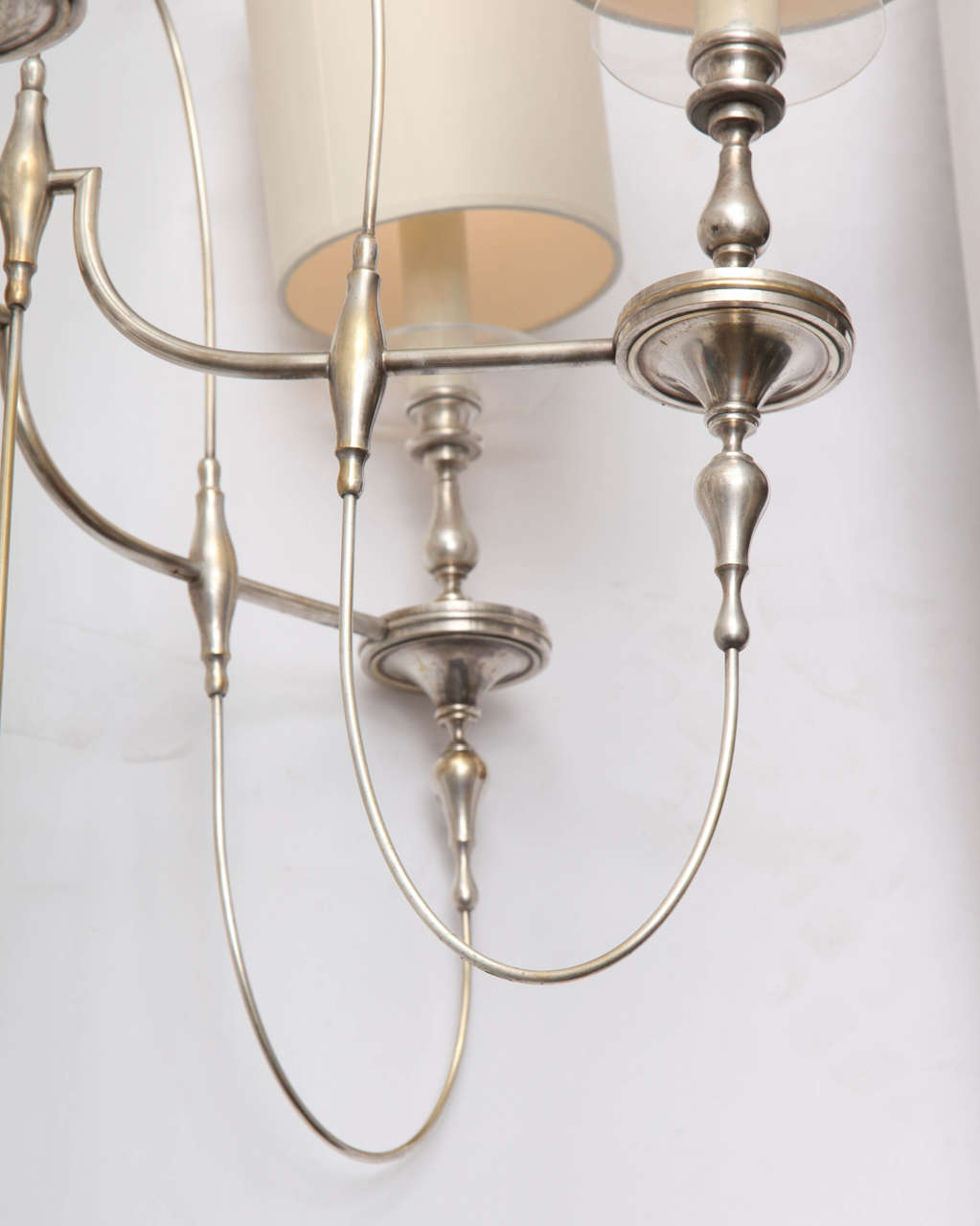 Mid-Century Modern 1940s Art Moderne Silver Candelabra Ceiling Fixture For Sale