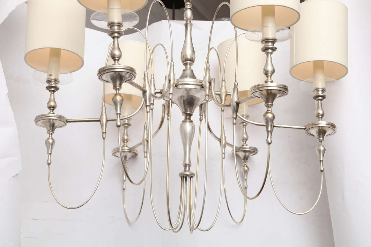 American 1940s Art Moderne Silver Candelabra Ceiling Fixture For Sale