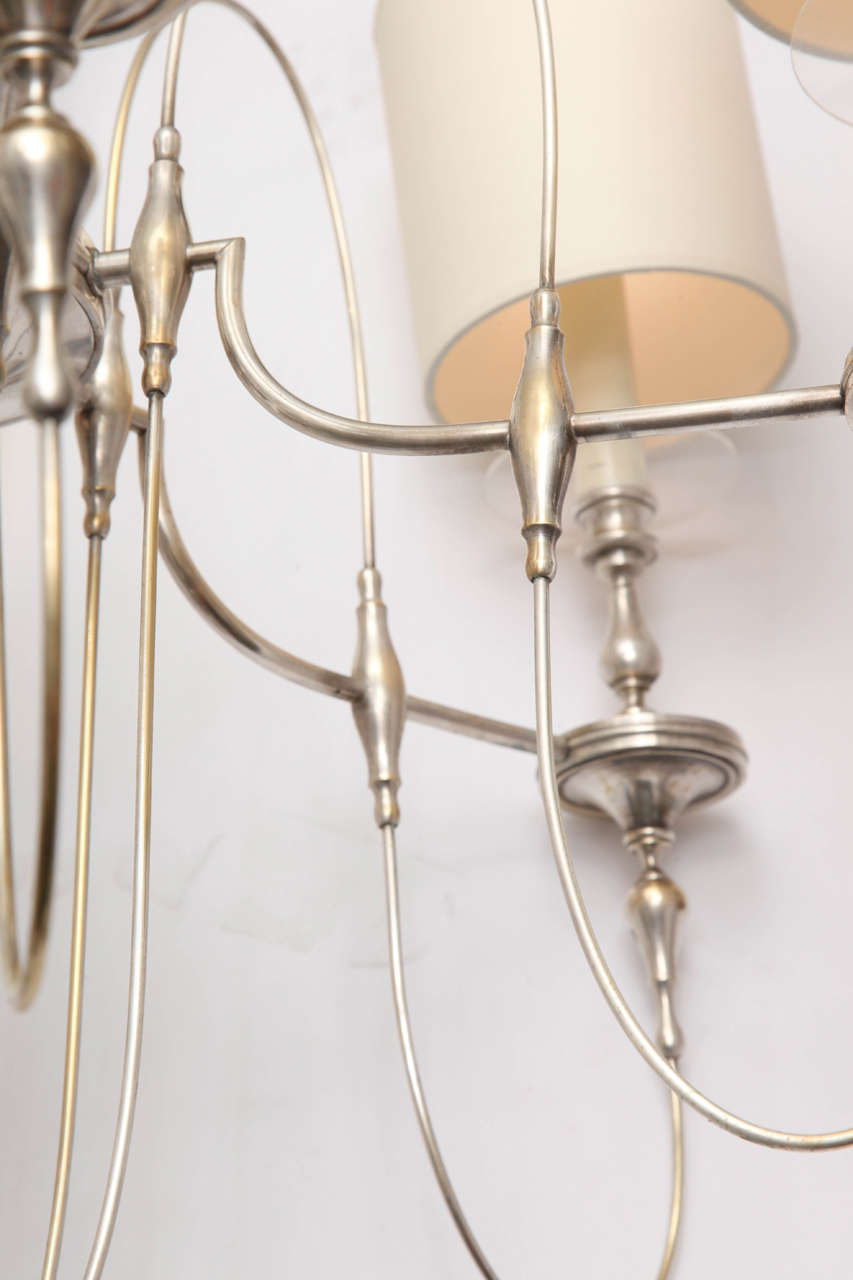 Mid-20th Century 1940s Art Moderne Silver Candelabra Ceiling Fixture For Sale