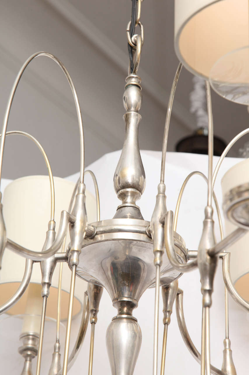 Silver Plate 1940s Art Moderne Silver Candelabra Ceiling Fixture For Sale