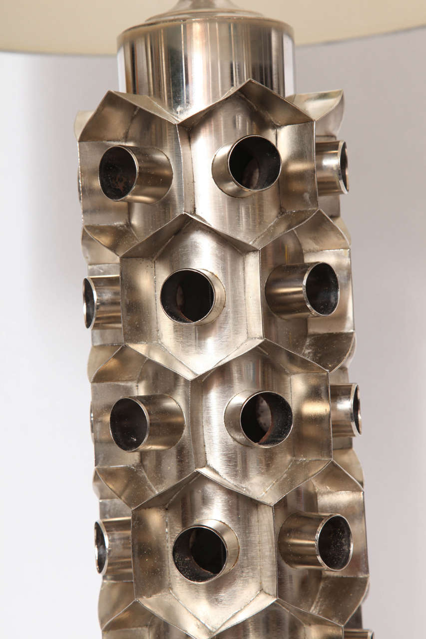 Plated 1960s Brutalist Nickeled Metal Table Lamp For Sale