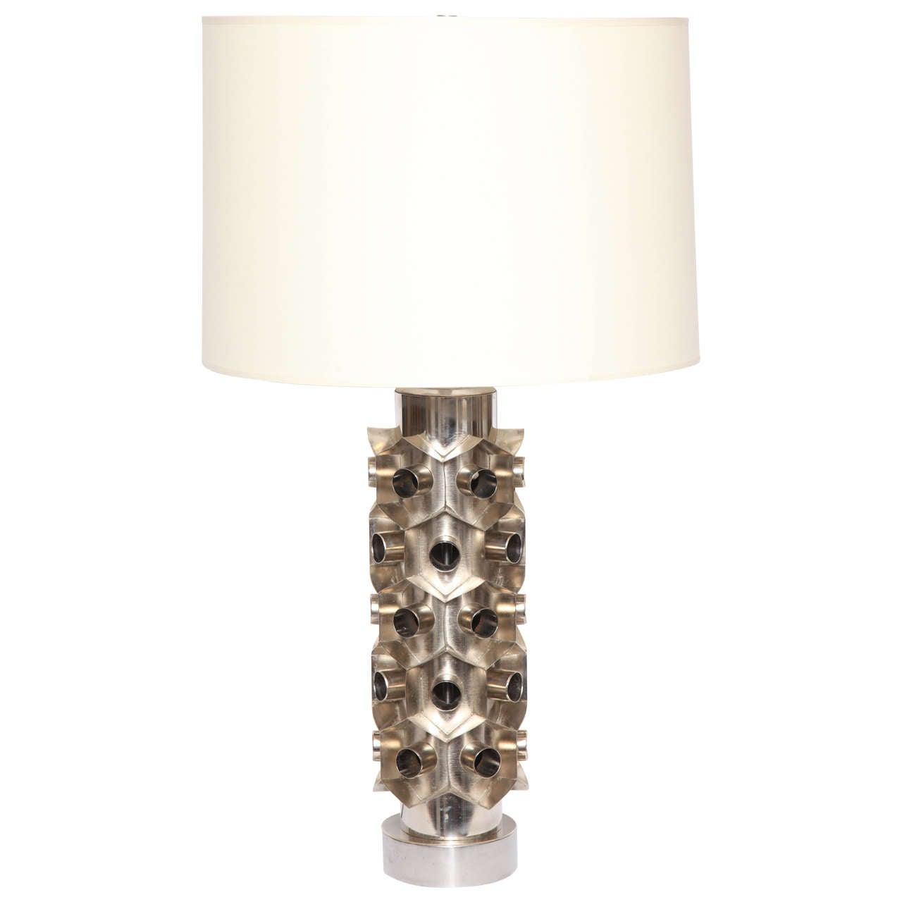 1960s Brutalist Nickeled Metal Table Lamp For Sale