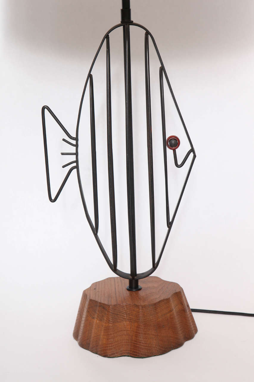 Mid-Century Modern 1950s Handcrafted Sculptural Fish Table Lamp by Heifetz For Sale