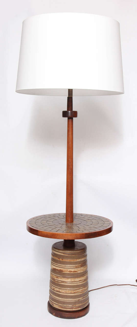 danish mid century ceramic and wood floor lamp or table by martz at 1stdibs. Black Bedroom Furniture Sets. Home Design Ideas