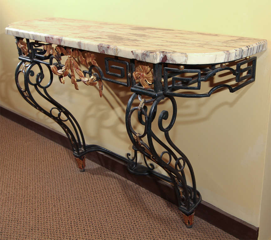 French arts and crafts iron console table at 1stdibs for Arts and crafts sofa table