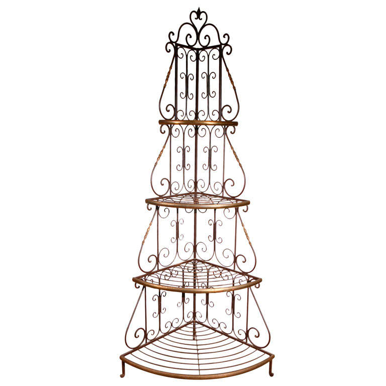 French Baker Rack Iron and Brass