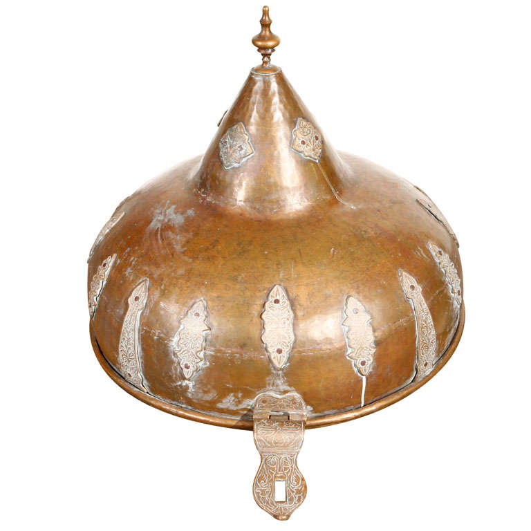 Moroccan antique bronze cover with brass etched decor at