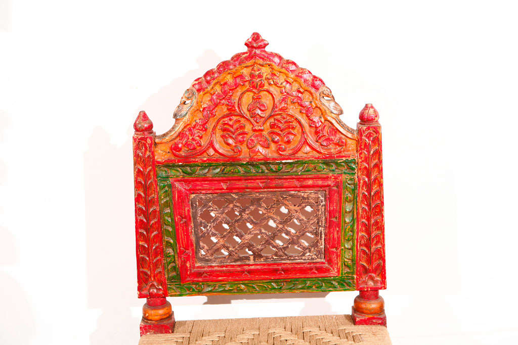 Pair of Low handcarved Rajasthani Chairs image 2