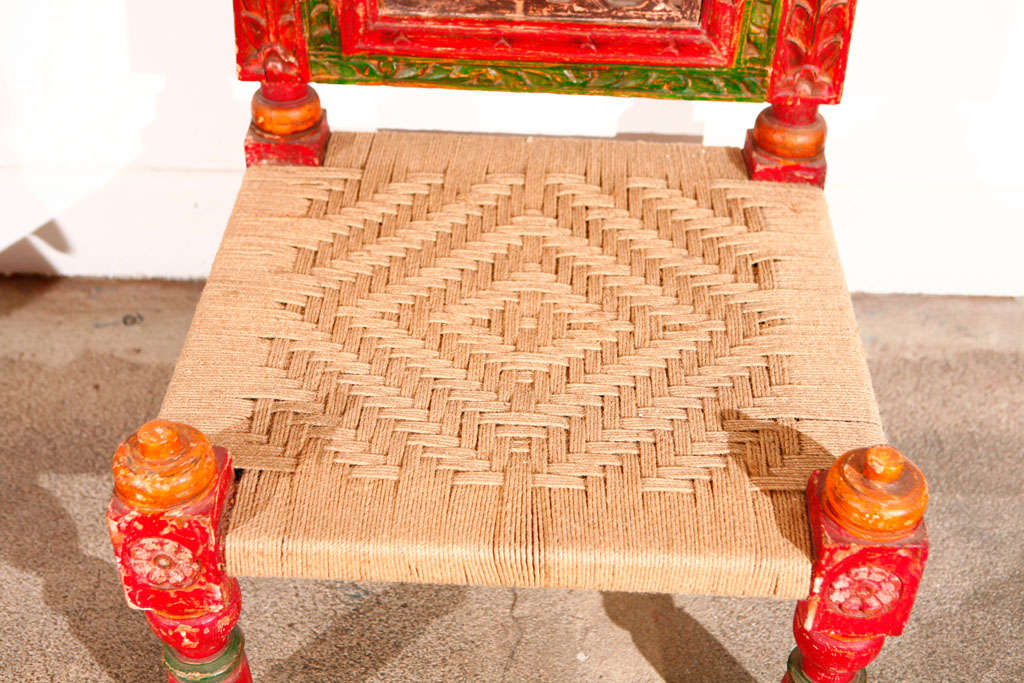 Pair of Low handcarved Rajasthani Chairs image 4